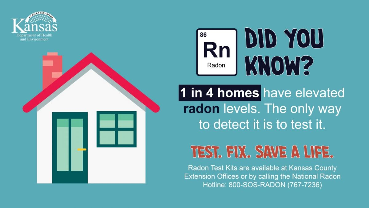 Did you know? 1 in 4 homes in Kansas have elevated radon levels. The only way to know is to test. . Test. Fix. Save a Life. Test kits are available at Kansas County Extension Offices and at the National Radon Program Services 800-767-7236