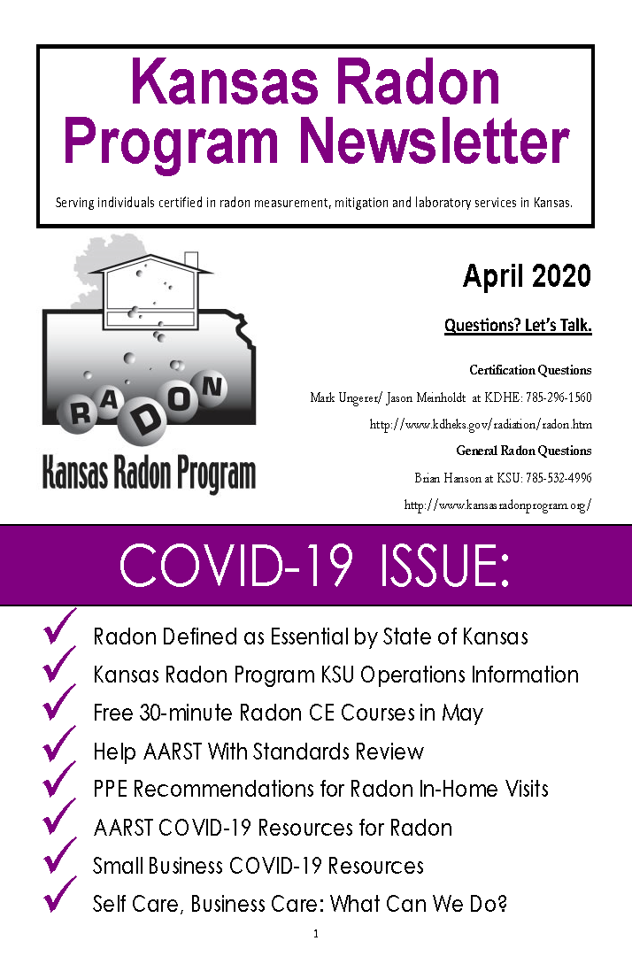 Front cover of April 2020 Newsletter titled COVID-19 Issue.